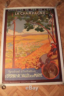 Affiche Ancienne Originale La Champagne Chemin De Fer De L, Est