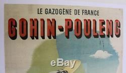 AFFICHE ANCIENNE ORIGINALE LE GAZOGENE DE FRANCE GOHIN POULENC GP gasifier 1930