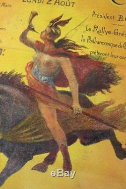 AFFICHE ANCIENNE ORIGINALE LITHO CAUSSADE 82 FOIRE CHIEN CHASSE COURRE aôut 1909