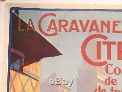 AFFICHE ANCIENNE ORIGINALE La CARAVANE CITROEN PIERRE LOUYS 1924 CIJ JRD dinky