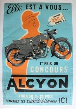 AFFICHE ANCIENNE ORIGINALE MOTO ALCYON 250 carrossée