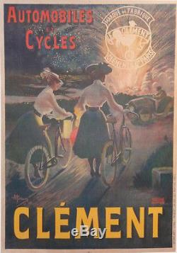 Affiche Ancienne Originale Old Poster Automobiles Cycles Clement Pres St-gervais