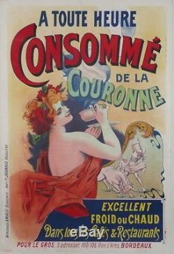 Affiche Ancienne Originale Old Poster Consomme De La Couronne Bordeaux Femme