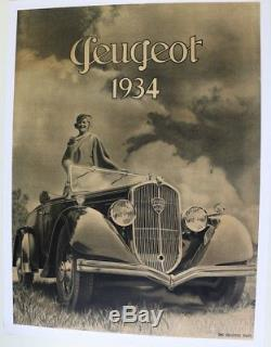 AFFICHE ANCIENNE ORIGINALE PEUGEOT 301 Cabriolet 1934 (1932-36)