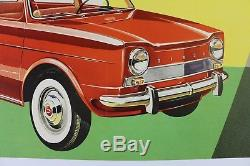 AFFICHE ANCIENNE ORIGINALE SIMCA 1000 1961 premier modèle entoilée entoilage