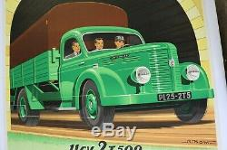AFFICHE ANCIENNE ORIGINALE camion HOTCHKISS PL 20 25 50 AM Grégoire Alexis KOW