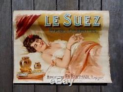 AFFICHE ANCIENNE PAPIER A CIGARETTE LE SUEZ c. 1900. BARTISSOL- PERPIGNAN