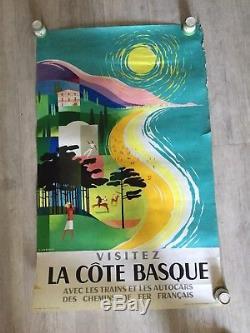 AFFICHE ANCIENNE / PAYS BASQUE, CHEMIN DE FER, AUTOCAR FRANCAIS de JACQUELIN
