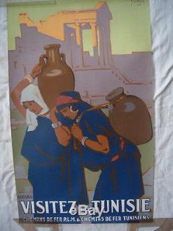 Affiche Ancienne Plm Visitez La Tunisie Lithographie Epoque 1929 De La Neziere