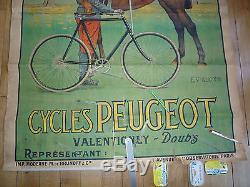 Affiche Ancienne Pub Cycle Velo Peugeot Cheval Doubs E. Vuillemin Guerre 14 18