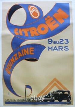 AFFICHE ANCIENNE QUINZAINE VENTE CITROEN 9-23 MARS 1930 TAMPON TIMBRE 120X80 cm