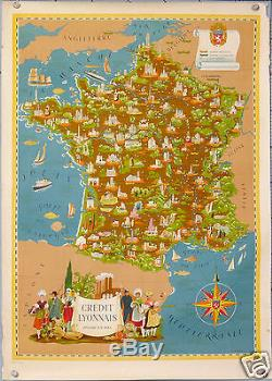 AFFICHE ANCIENNE RARE de LUCIEN BOUCHER LE CREDIT LYONNAIS EN FRANCE CIRCA 1950