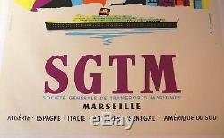 AFFICHE ANCIENNE SGTM MARSEILLE ALGERIE ESPAGNE ITALIE ANTILLES SENEGAL Romefort