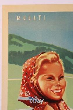 AFFICHE ANCIENNE TOURISME bergère PEROULA VAL D'AOSTE CONCA di PILA ALPES 1949