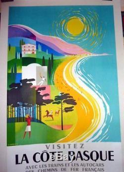 Affiche Ancienne Visitez La Cote Basque Golf Polo Pelote Jacquemin 1964 Sncf