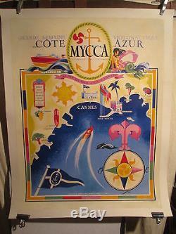 AFFICHE COTE D'AZUR CANNES MOTONAUTIQUE MERCIER