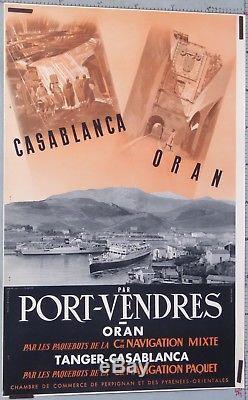 AFFICHE Cie PAQUET Cie MIXTE MAROC TANGER CASABLANCA ORAN PORT-VENDRES c1945-55