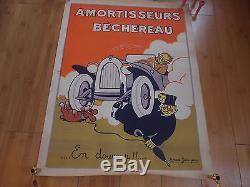 Affiche De Garage Amortisseurs Bechereau, Marcel Jeanjean (bidon Plaque)