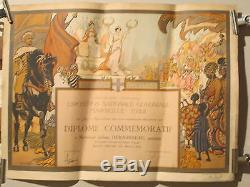 Affiche Diplome Expo Coloniale Marseille Belle Scene Exotique