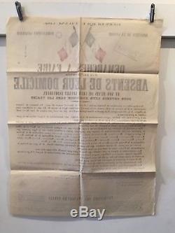 AFFICHE Démarches à faire par les Hommes absents. Mobilisation 2 Août 1914