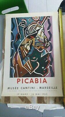 AFFICHE GALERIE FRANCIS PICABIA BAL NEGRE MOURLOT 77x50 1962