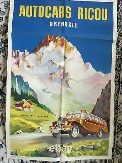 AFFICHE GRENOBLE Autocars Ricou R. JACQUET. Format 100x64 cm Superbe Affiche