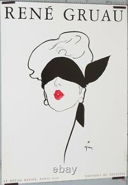AFFICHE GRUAU René circa 1989 LE ROUGE BAISER 1948 80 x 60 CM