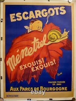 AFFICHE ORIGINALE 1920 ESCARGOTS par RUDD Entoilée