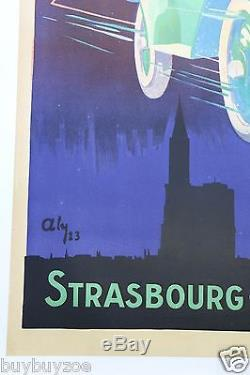 AFFICHE ORIGINALE 1923 AUTO AVION MICHEL SIX STRASBOURG ICARE car poster er