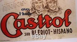AFFICHE ORIGINALE 1933 CASTROL AVION record ROSSI CODOS LEBRIX BLERIOT HISPANO