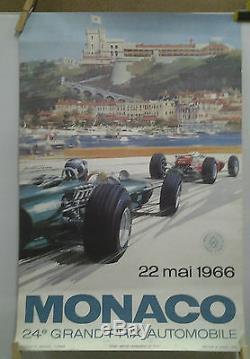 Affiche Originale Ancienne Grand Prix Automobile Monaco Monte Carlo 1966 Turner