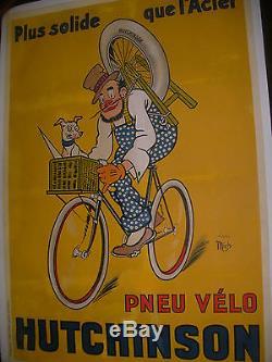 Affiche Originale Ancienne Mich Pneu Velo Hutchinson