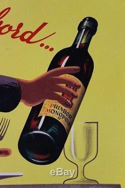 AFFICHE ORIGINALE ANCIENNE VIN PRIMIOR signée BELLENGER années 50 entoilée