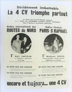 AFFICHE ORIGINALE AUTOMOBILE GARAGE RENAULT 4 CV RALLYE Féminin ST RAPHAEL NORD