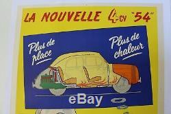 AFFICHE ORIGINALE AUTO GARAGE RENAULT 4 CV CHEVAUX 1954 confortable cheminée