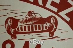 AFFICHE ORIGINALE CIRCUIT AUTOMOBILE gd prix FOREZ SAINT-ETIENNE 8 MAI 1955