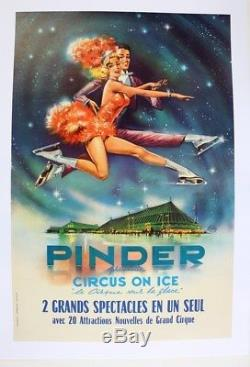 AFFICHE ORIGINALE CIRQUE CIRCUS PINDER ON ICE Assomption RUDDY poster ice skate