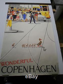 Affiche Originale Denmark Wonderful Copenhagen 1959 Litho