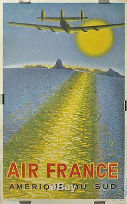 Affiche Originale D'agence / Air France (1949)