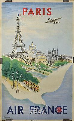 Affiche Originale D'agence / Air France (1950)