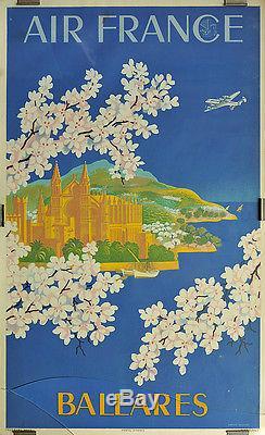 Affiche Originale D'agence / Air France (1951)