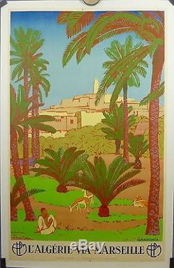 AFFICHE ORIGINALE LITHOGRAPHIQUE GHARDAIA ALGERIE c 30 par E L BOUCHAUD
