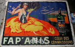 AFFICHE ORIGINALE Publicité ART DECO 1920 FAP ANIS par DELVAL NICE COTE d'AZUR