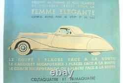 AFFICHE ORIGINALE RENAULT coupé cabrio CELTA PRIMA VIVA NERVA GD SPORT 1934-39
