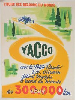 AFFICHE ORIGINALE YACCO l'Huile des records du monde ROSALIE CITROEN Garage