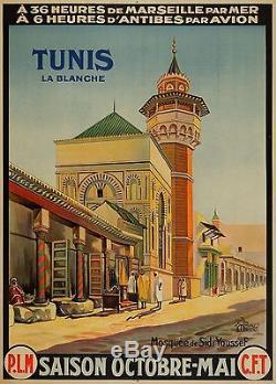 AFFICHE ORIGINALE c 30 pour TUNIS la BLANCHE mosquée Sidi ben Youssef via PLM