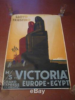 AFFICHE PAQUEBOT COMPAGNIE LLOYD TRIESTINO VICTORIA EUROPE EGYPTE