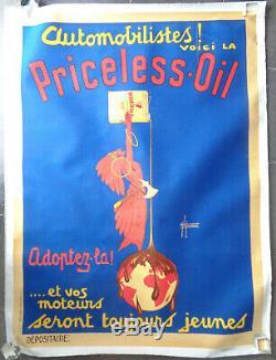 AFFICHE PUBLICITAIRE ANCIENNE AUTOMOBILIA Priceless Oil Huile Indien Laurencin