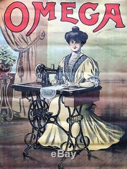 AFFICHE PUBLICITAIRE ORIGINALE OMEGA MACHINE A COUDRE début 20ème 20th RAMBOZ