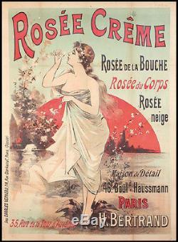 AFFICHE PUBLITAIRE Originale ART NOUVEAU 1890 par Eugene OGE Rosée Crème Beauté